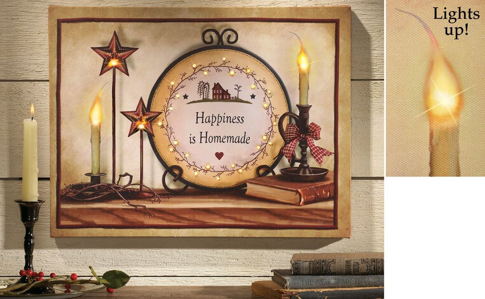 Elegant Country Wall Art Canvas With LED Lights Beautiful Wall Hanging Has A  Homespun Country Feel And Includes Warm, Glowing Candle Light.