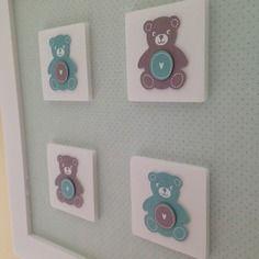 Tableau cadre ourson bleu vert et taupe layette décoration chambre ...