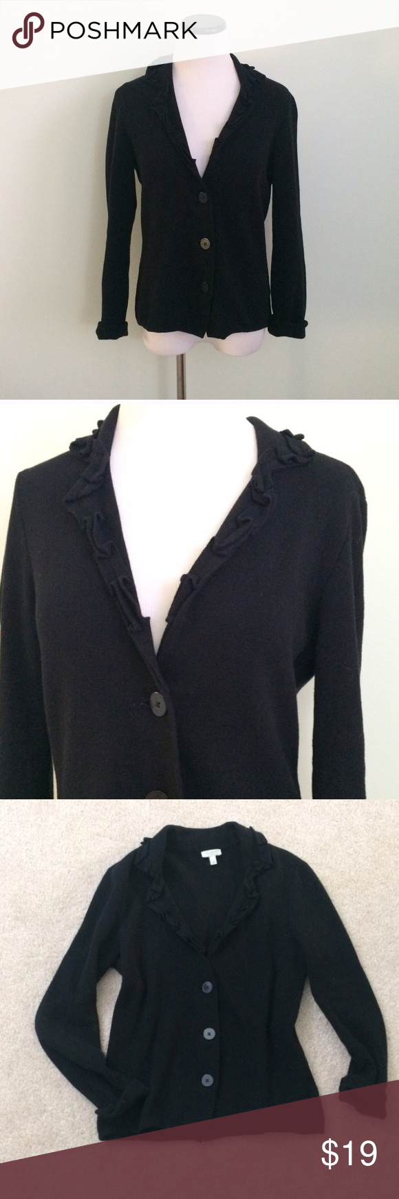 TALBOTS Black ruffle Cardigan Sweater Very gently worn. Black ...