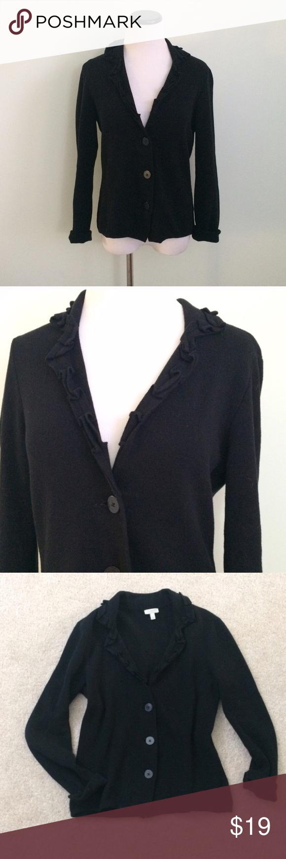 TALBOTS Black ruffle Cardigan Sweater Very gently worn. Black ...