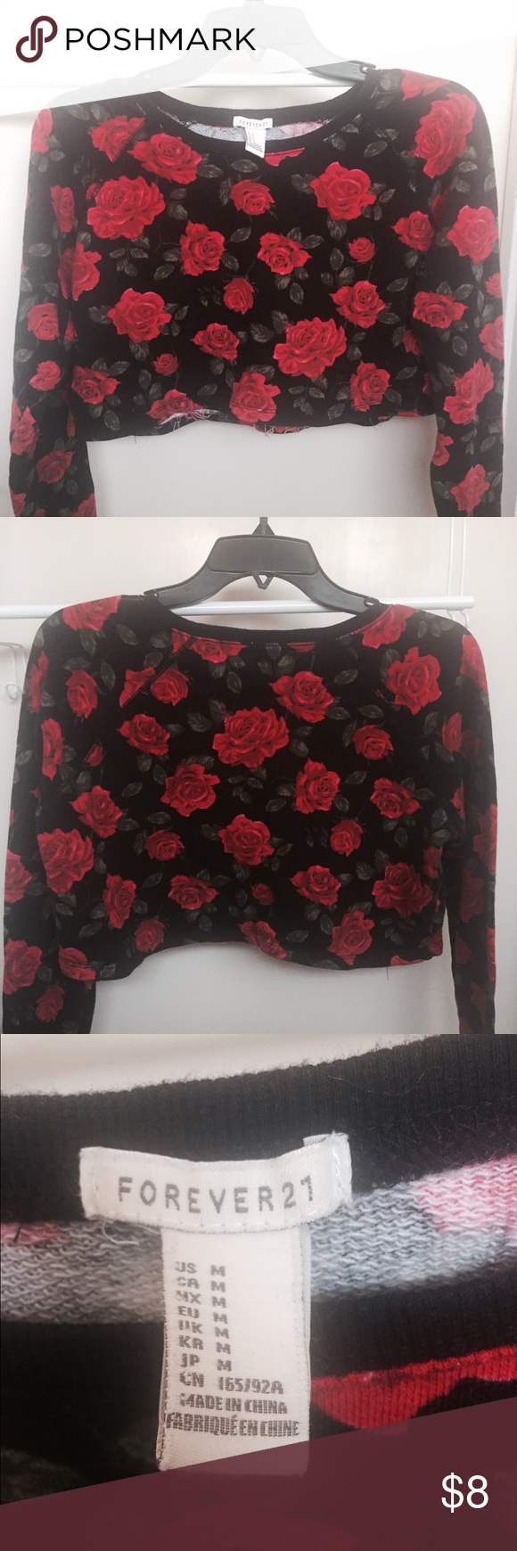 Forever 21 Red Roses Crop Sweater My Posh Closet Pinterest