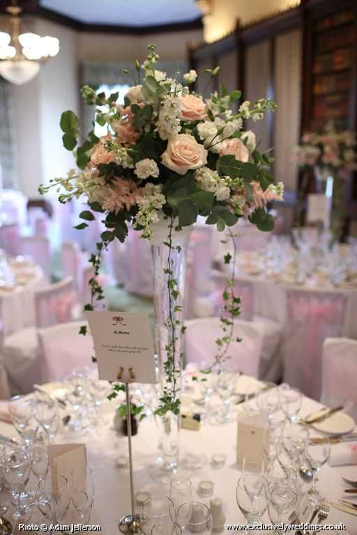 Tall Vase Table Display By Exclusively Weddings Photo Adam Jefferson