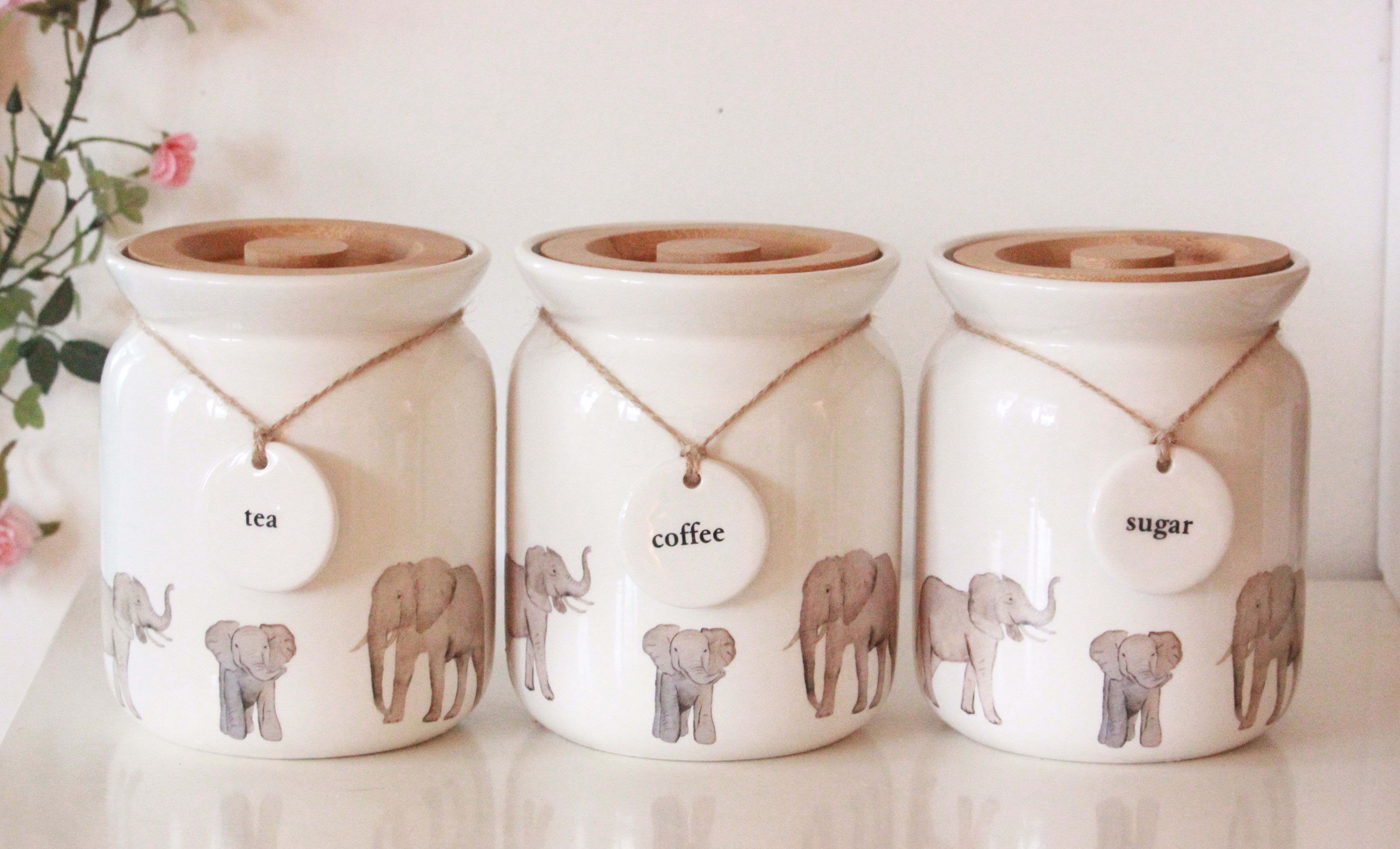 Elephant kitchen canister set. Stunning Sugar tea and coffee