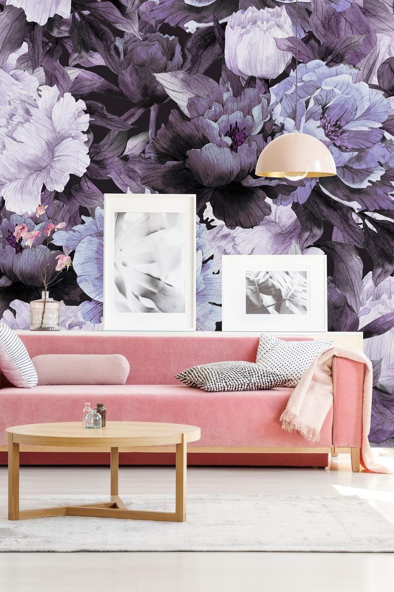 Removable Wallpaper Peel And Stick Wallpaper Self Adhesive Etsy Peel And Stick Wallpaper Removable Wallpaper Purple Peonies