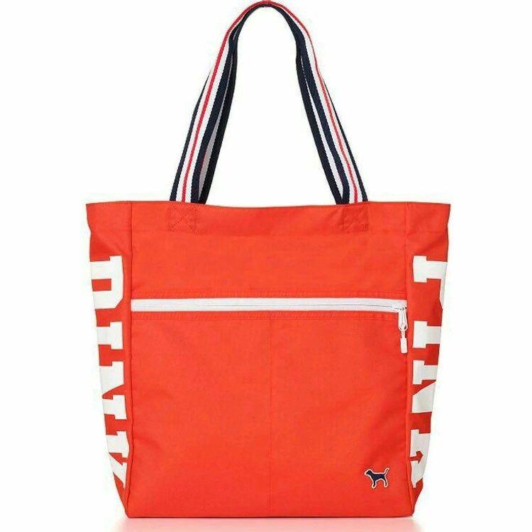 "NEW Victoria/'s Secret PINK Logo Zip Tote Gym Bag Black 16""H x 14¼/""W x 5¾/""D"