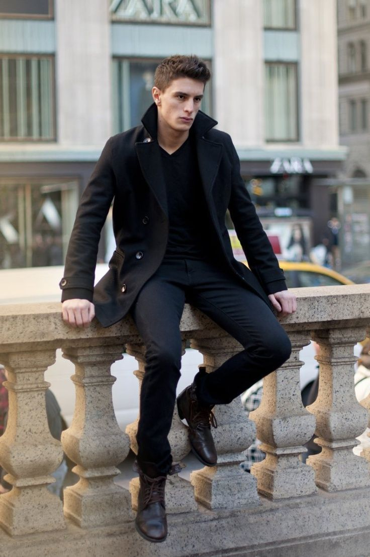 s black pea coat black v neck sweater black chinos