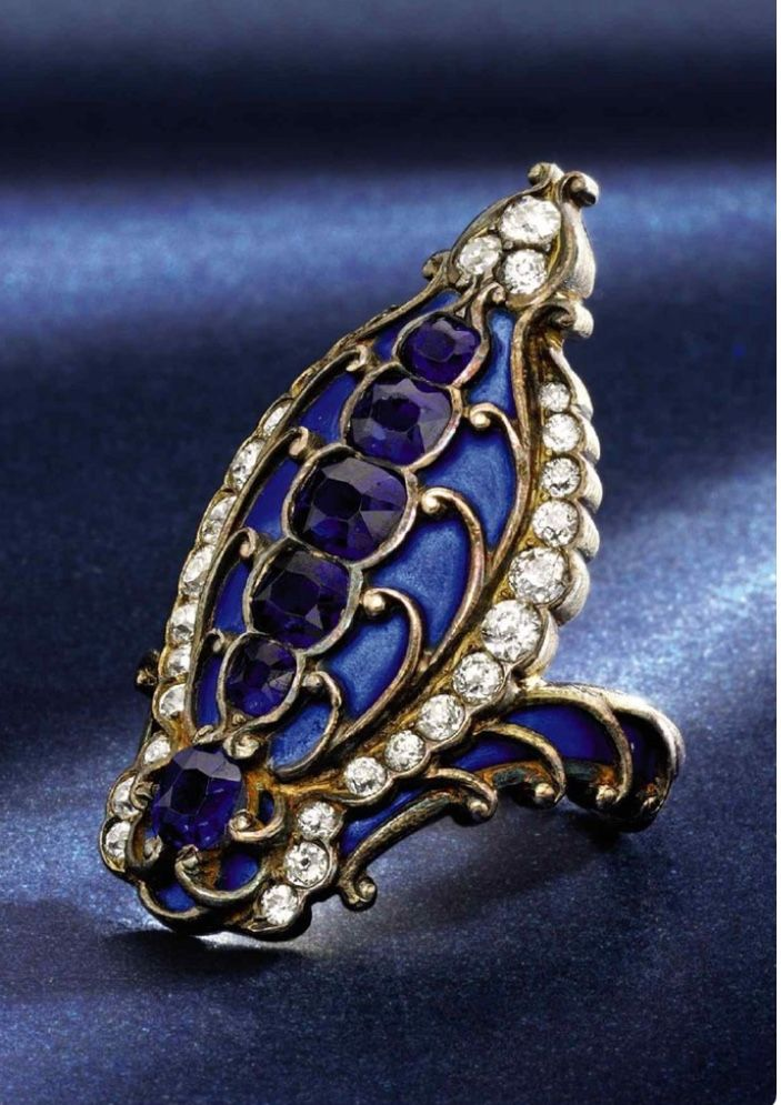 Sapphire, enamel, and diamond ring via Sotheby's