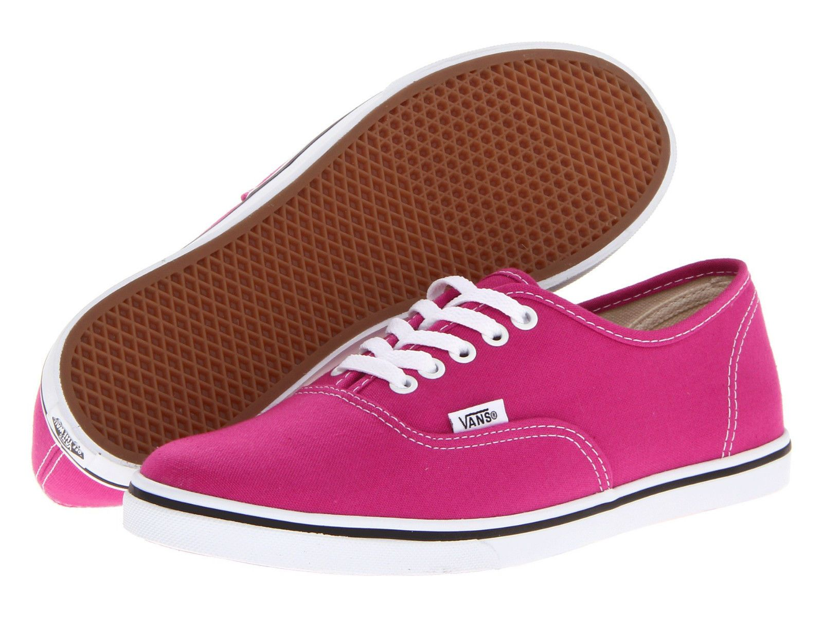 f01a9e4b4362 Nib Vans Authentic Lo Pro Fuchsia Red   True White Canvas Casual Women Shoes