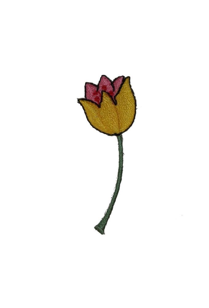 ID #6151 Yellow Tulip Flower Plant Garden Iron On Embroidered Patch Applique #ID