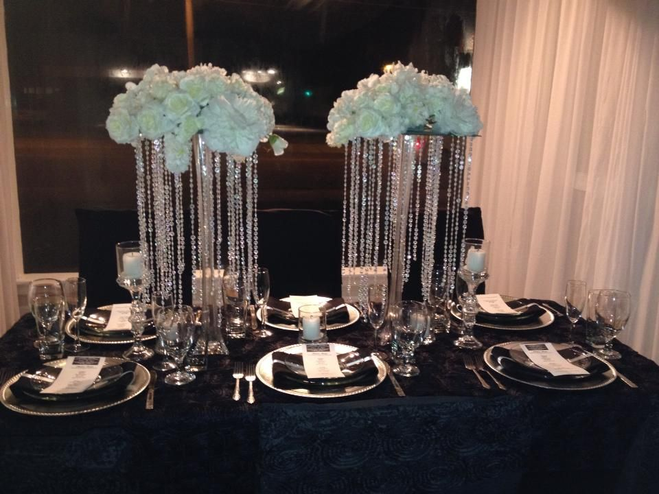Crystal centerpieces elegant wedding black and white