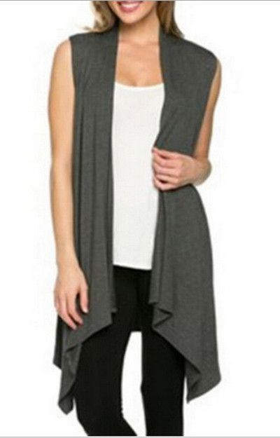 24d3b61b13c662 Woman Knitted Cotton Sleeveless Open Stitch Long Cardigan Scarf Collar  Casual Shrug Standard Wool Bat Style Sweater Cardigans