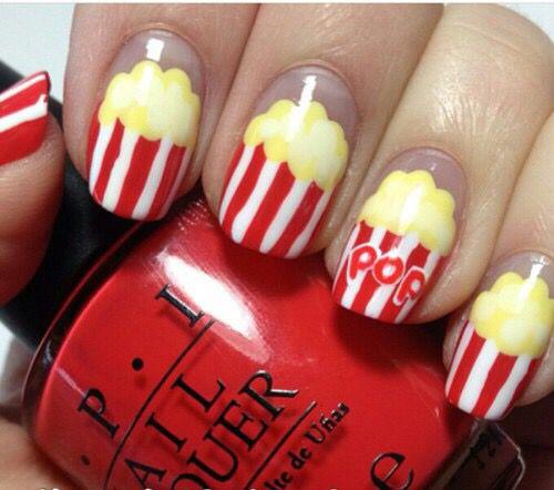 Popcorn Nail Art Nails Pinterest Nagel Nagel Ontwerp En