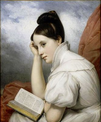 Reading girl by Gustav Adolph Henning (1797-869)