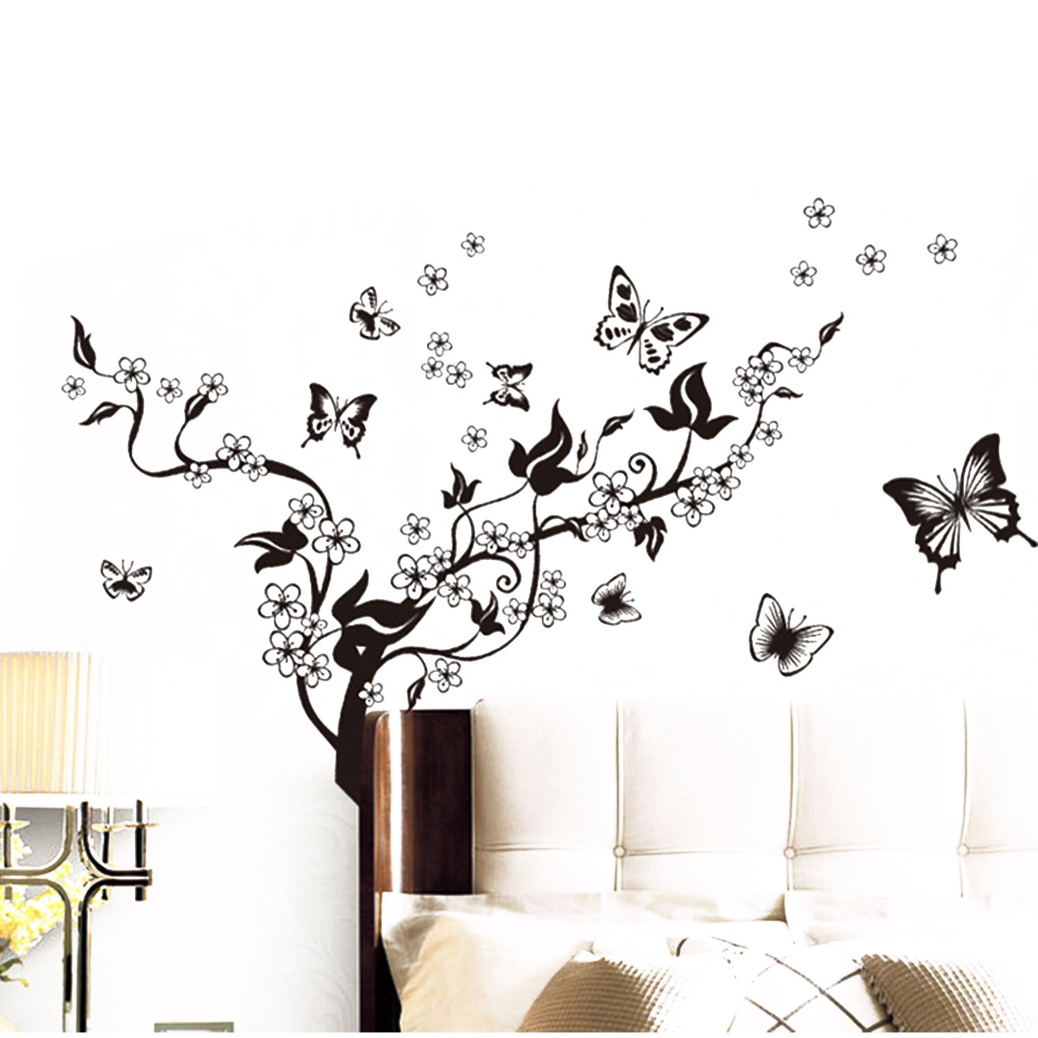 Romantic Trees And Butterflies Removable PVC Decorative Wall Stickers Decals Car Home DIY Decor