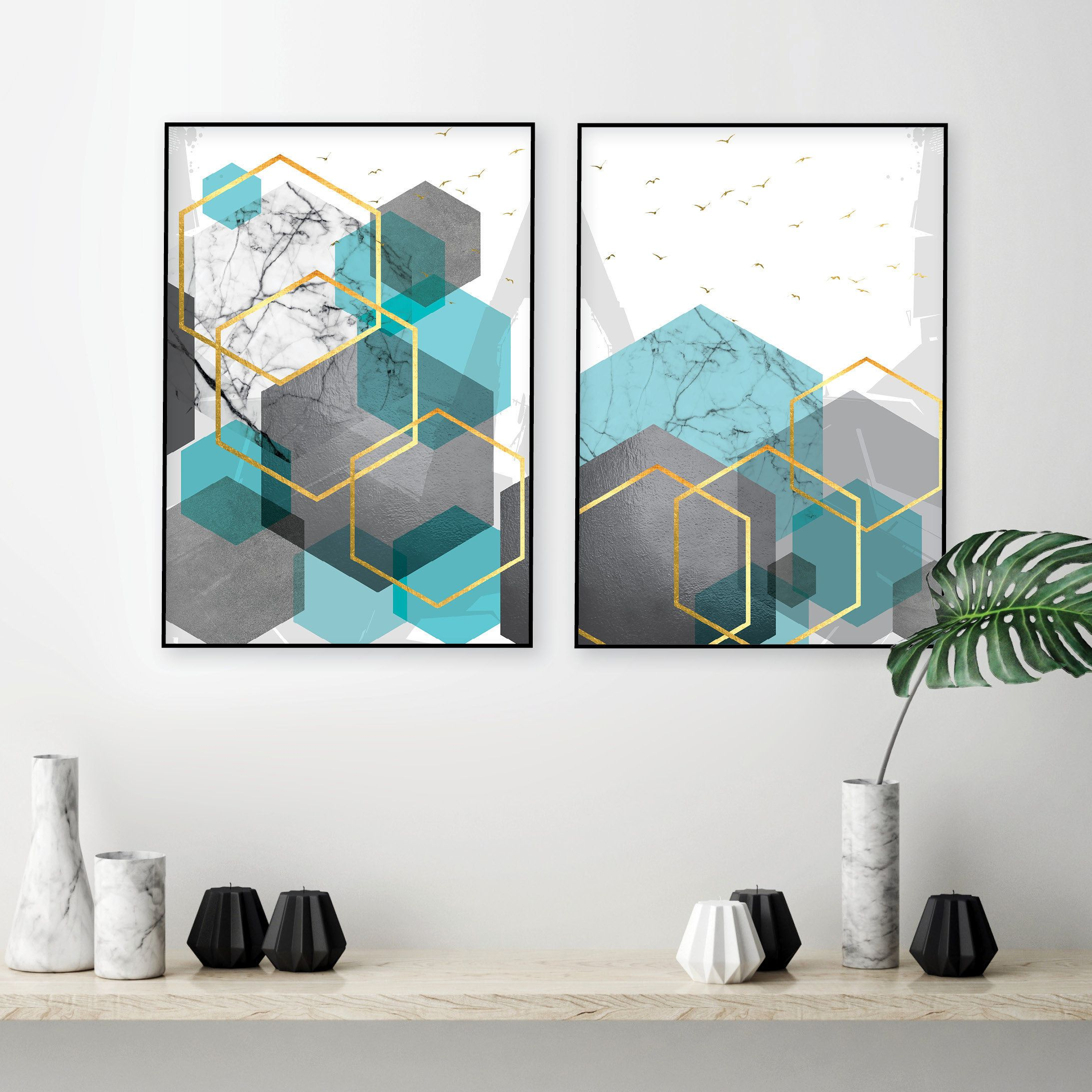 Set of 2 downloadable geometric prints in turquoise tiffany blue grey gold Printable abstract Scandinavian modern wall art Bedroom decor images