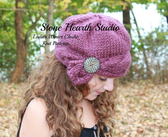 Rachelle Ladies Winter Cloche,Knit Hat Pattern,Winter Hat ...