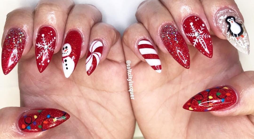 Hand Painted Christmas Magic Hard Gel Gel Polish Gelnails Nailart Naildesign Christmasnails Winternails Winter Nails Hard Gel Christmas Nails