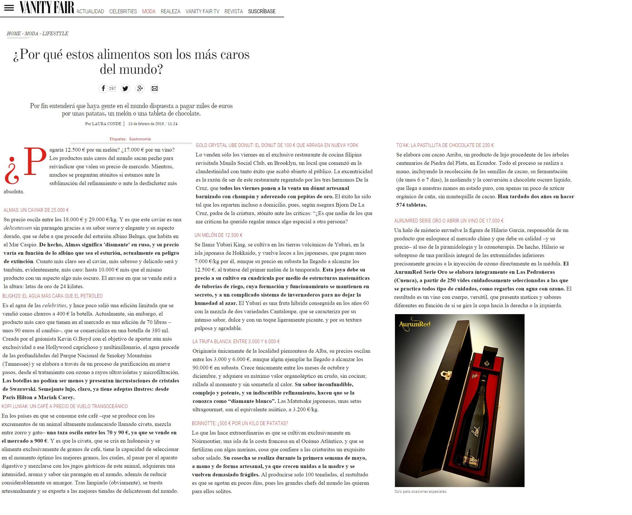 Artículo en Revista Vanity Fair acerca de AurumRed