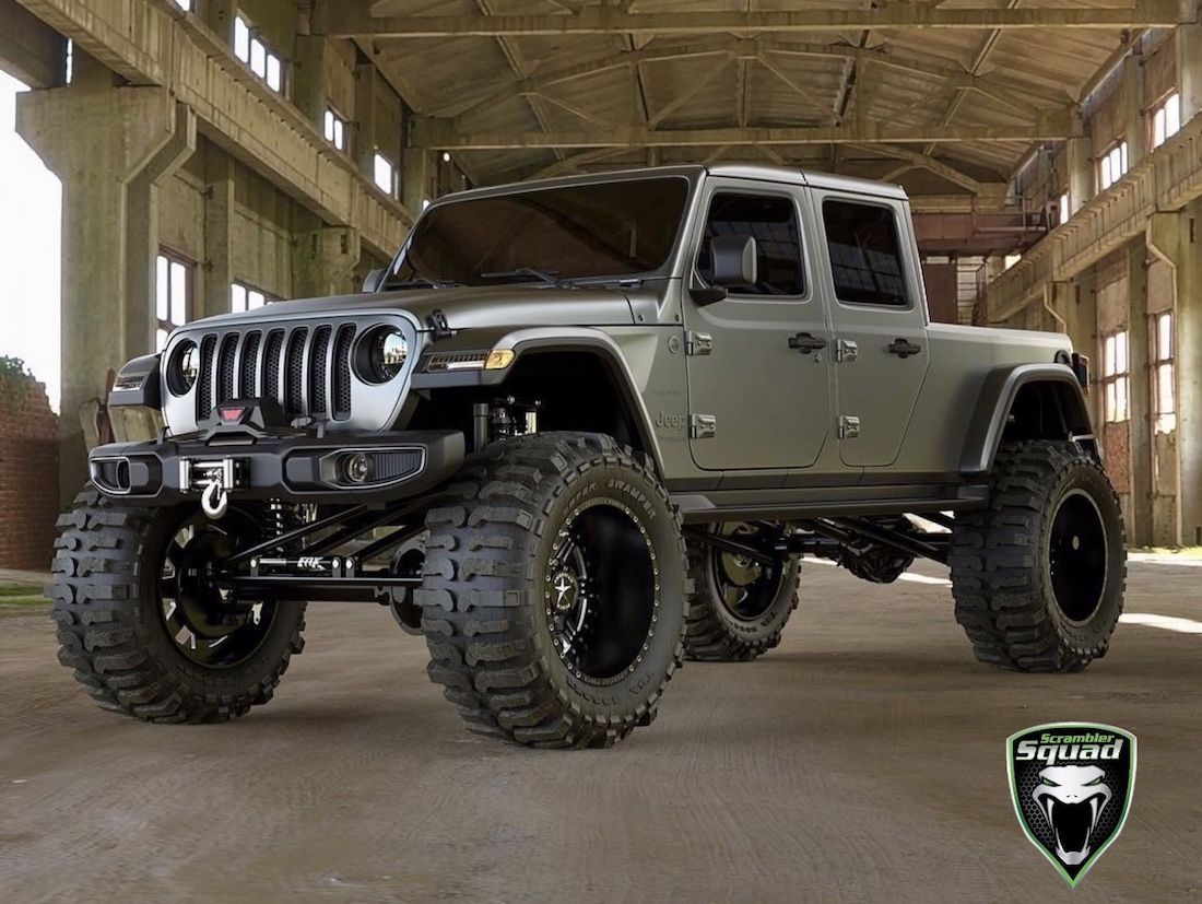 What If Your 2020 Jeep Gladiator Scrambler Truck Was Rolling On 42 Inch Rims Concept The Truck Has Not Made A Debut Yet But Mod Jeep Pickup Jeep Gladiator