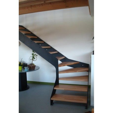 ESCALIER quart tournant IMAGINE LINEAR bois, métal Stairs Лестницы