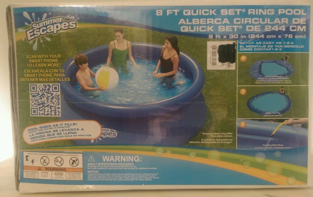 Pool 8 feet x 30 inch Quick Set Ring Pool easy set up Swim