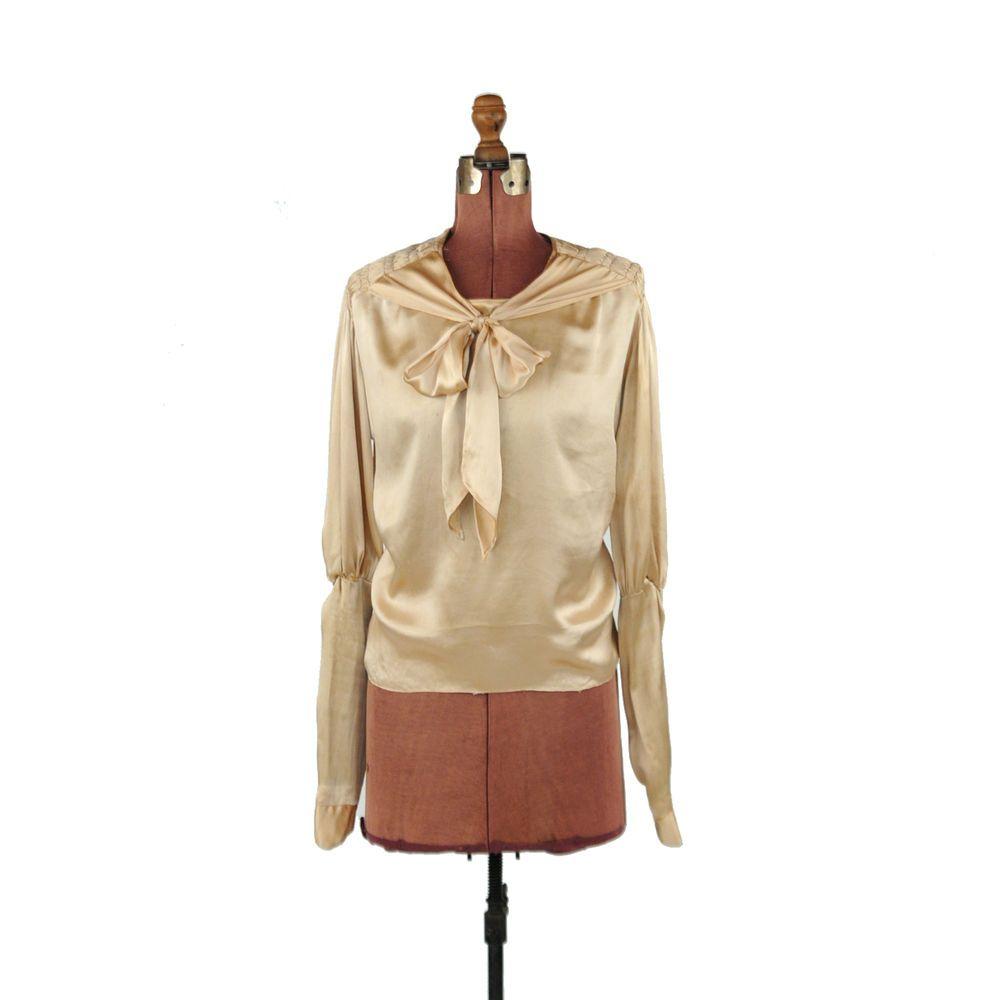 Vintage 30s Gold Rayon Silk Ascot Tie Art Deco Evening Shirt Top Blouse M