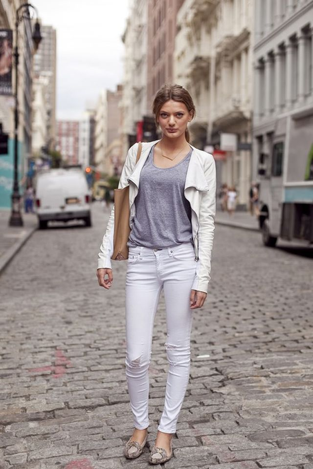 Image result for white jeans street style