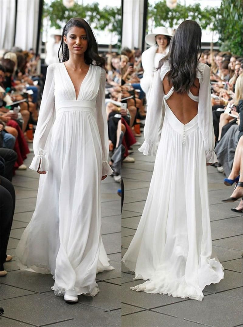 Cheap Long Sleeves Backless Hippie Wedding Dresses A Line V Neck ...