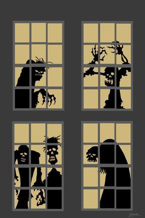 cut out halloween window silhouettes - Google Search Halloween - halloween window decorations