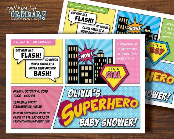 Superhero Baby Shower Invitation Or Boy By Abocustomdesign 12 00