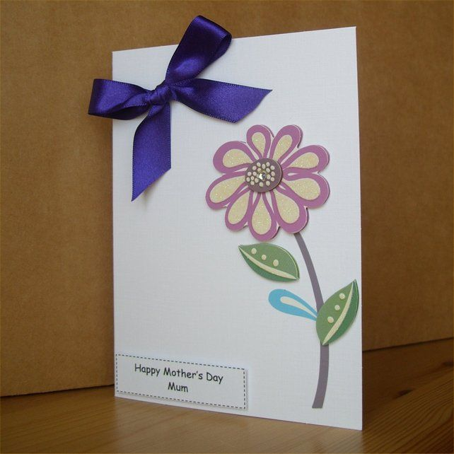 Purple Satin Mother's Day Card - Mum by Aunty Joan Crafts