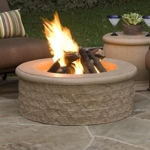 Chiseled Fire Pit Round Chiseled Cast Stone Fire Pit 39 Dia 14 1 2 H 26 Inside Diameter Comes With Burner Eleme Diy Gas Fire Pit Outdoor Fire Gas Firepit