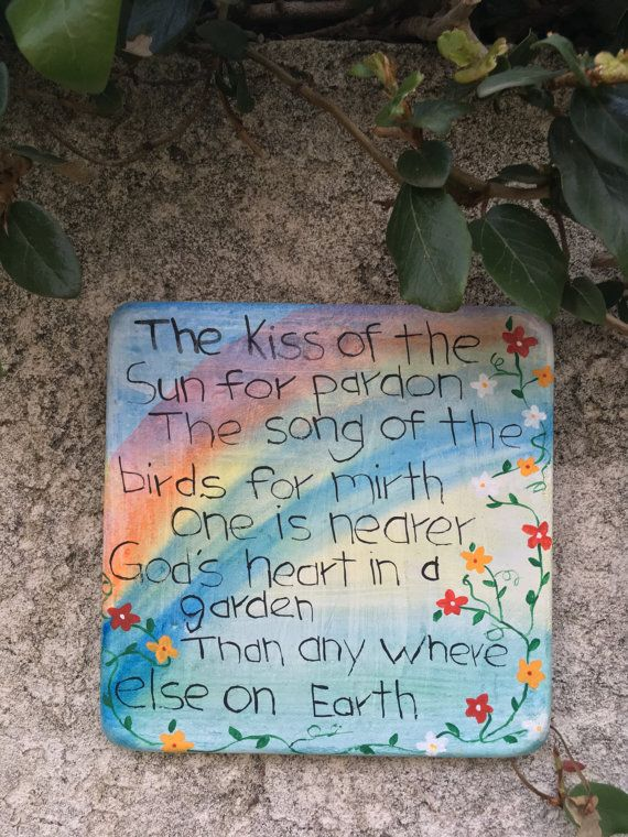 Handcrafted Square Cement Rainbow Plaque With Poem Kiss Of The