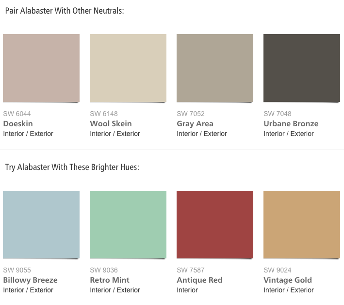 Paint Combinations For Sherwin Williams 2016 Color Of The Year Alabaster