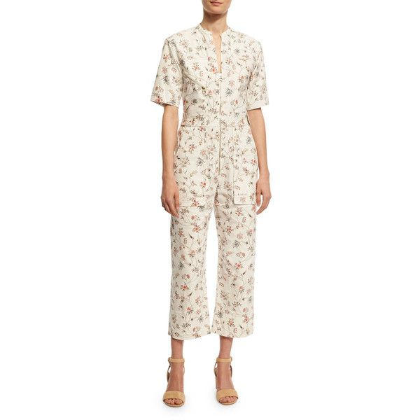 Isabel Marant Floral-Print Cotton Cargo Jumpsuit ($950) ❤ liked on Polyvore featuring jumpsuits, ecru, women's apparel jumpsuits, floral print jumpsuit, floral jumpsuit, cargo jumpsuit, white cotton jumpsuit and isabel marant