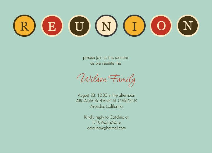 reunion invitation Retro Blue Family Reunion Invitation - invitation card formats