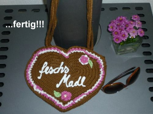 Gehäkelte Herz Tasche Zum Dirndl Oktoberfest Style Crochet Bag