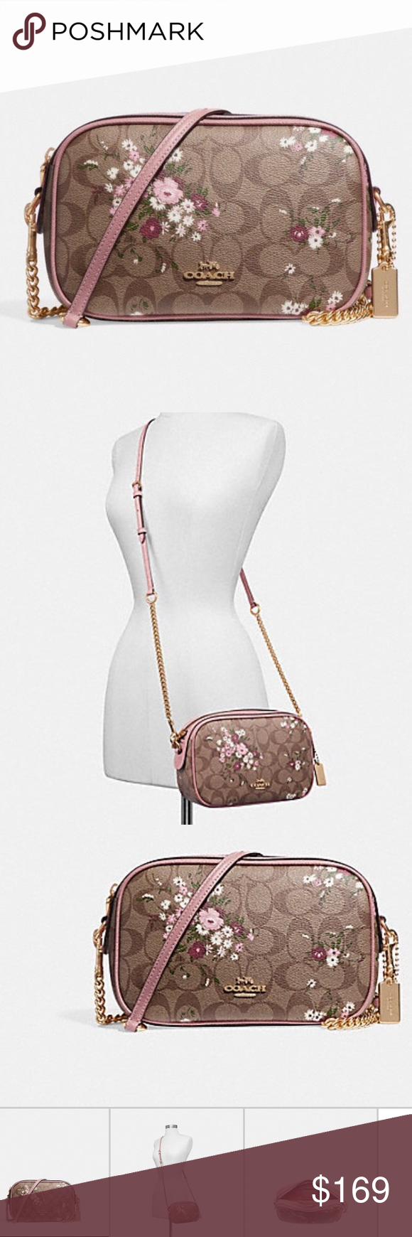 5befed7d4fe2 COACH Isla Chain Crossbody Signature Floral Bundle 1000% AUTHENTIC (store  receipts available for all
