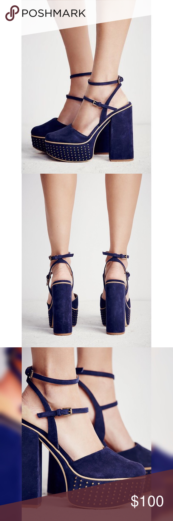81dee27daa Embrace the 70s in these statement blue platform strapped heels! Chunky  heel, very comfortable. Free People Shoes Platforms. Free People Star  Crossed ...