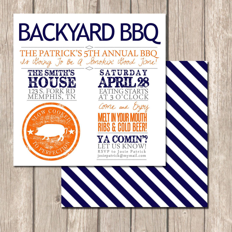 Summer Backyard BBQ Invitation Perfect Invitation by VivaLaLovely ...