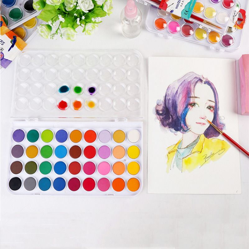 12 24 36 Colors Solid Watercolor Paints Paint Box With Paintbrush