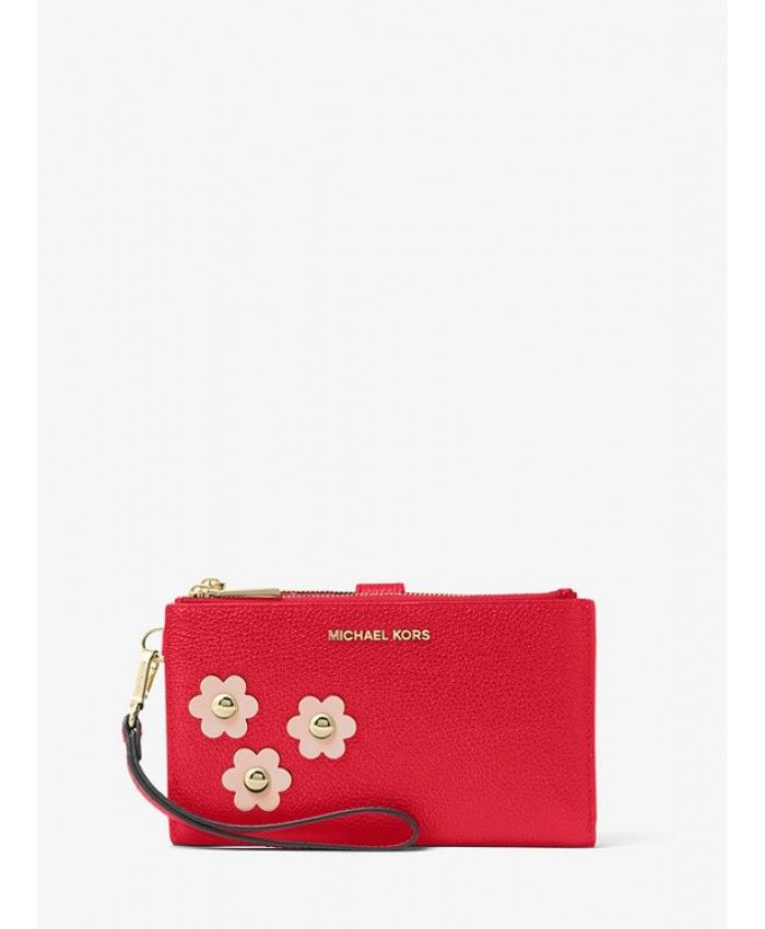 Michael Kors Adele Floral Appliqué Leather Smartphone Wristlet - Bright Red Soft  Pink - MK264BG 68b24e17637