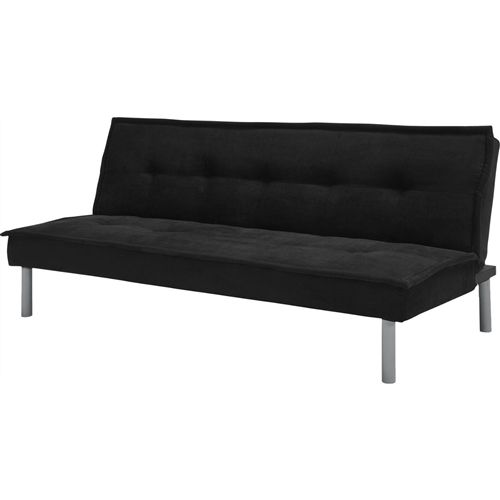 Black Microfiber Upholstered Futon Sofa