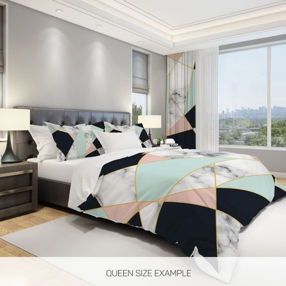 Photo of Marble Comforter, Modern Comforter Set, Geometric Comforter, Queen Comforter, Full Duvet Set, Triangle Comforter, Modern Home Decor