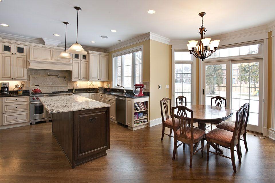 Custom Kitchen Cabinets - Cherry Island, artic white / caf ...