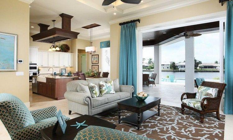 Braun Beige Blau Farbkombination Wohnzimmer Maritim #brown #interior