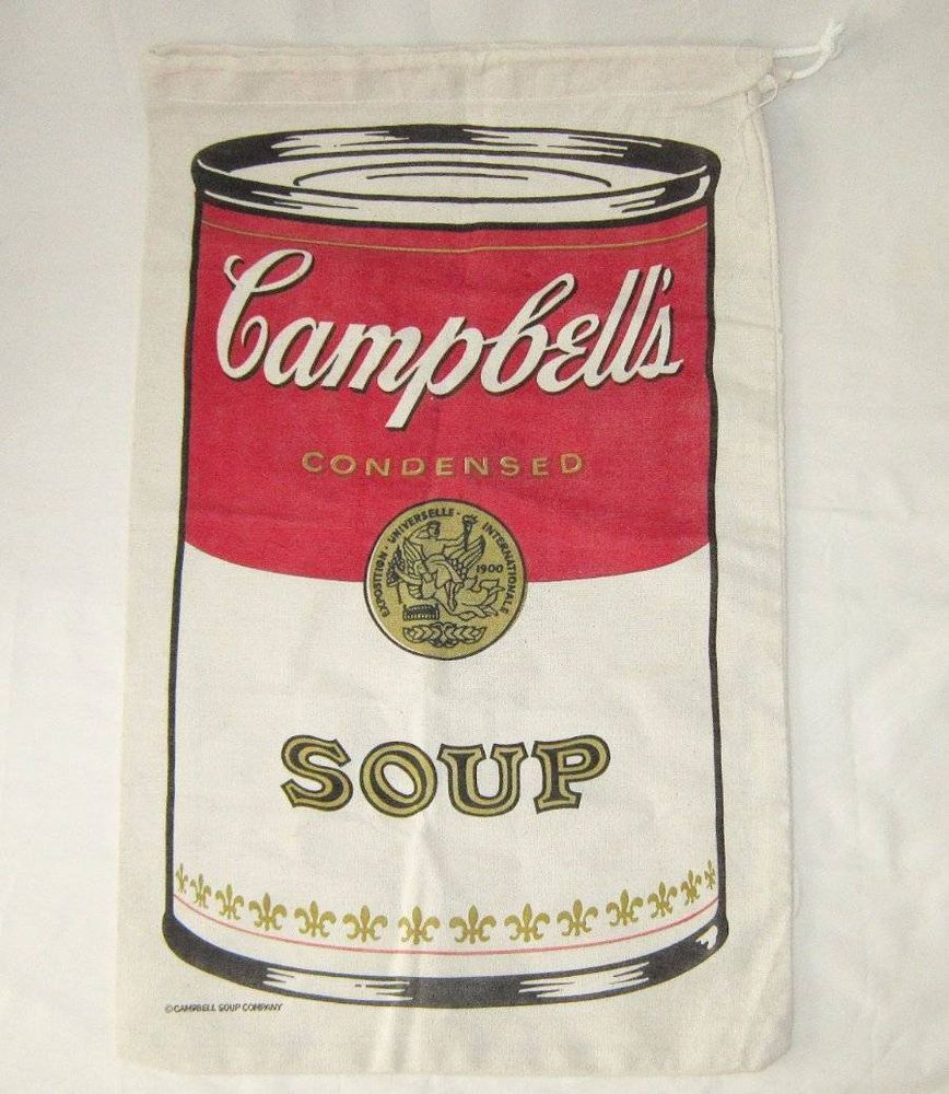 Campbell S Soup Unused Large Cloth Canvas Drawstring Bag Sack Laundry 28 X 17 Campbell Soup Campbells Farm Style