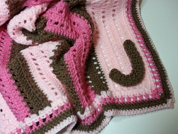 Crochet Personalized Monogrammed Baby Blanket for Baby Girls