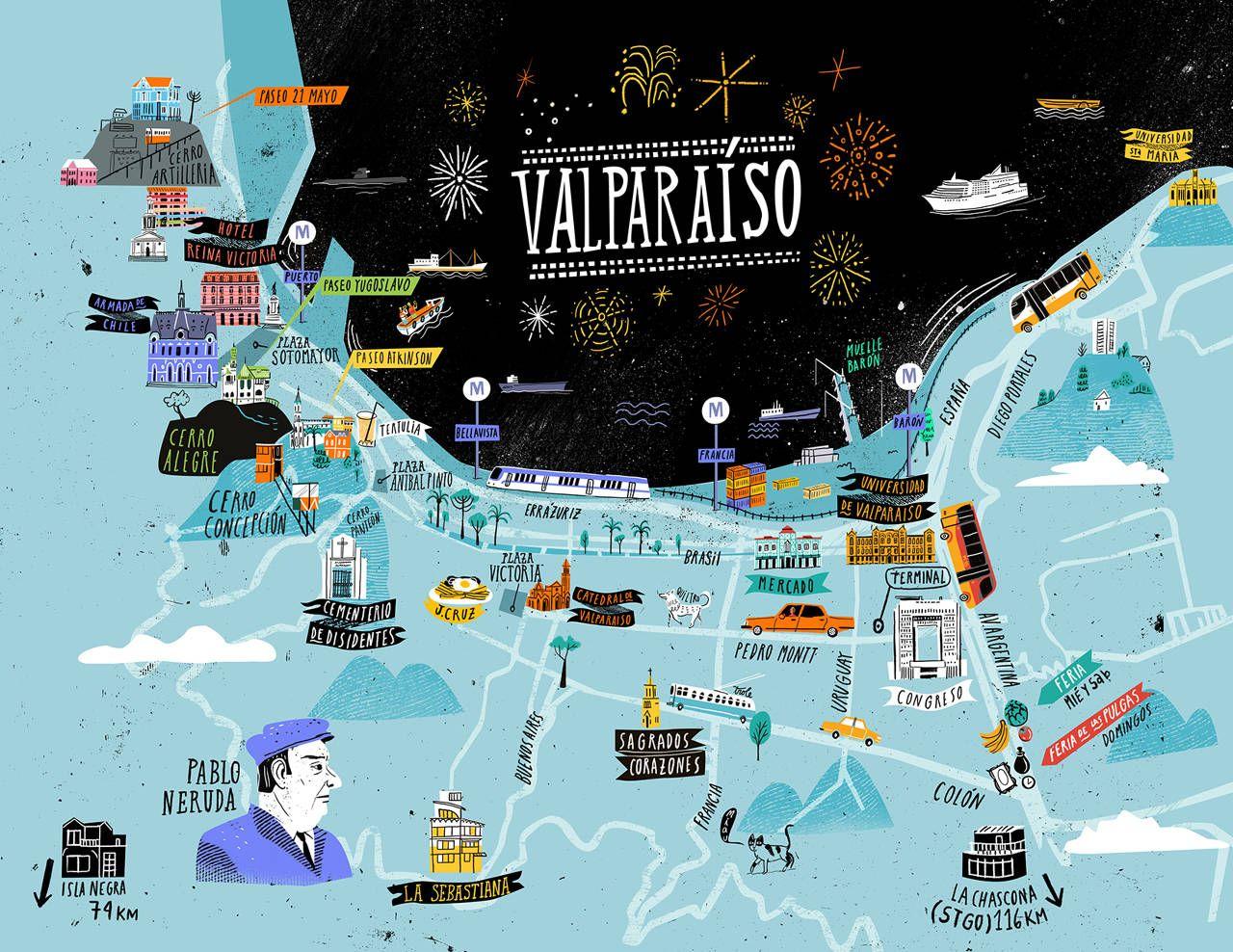Valparaiso Map OYEMATHIAS Chile Pinterest Valparaiso