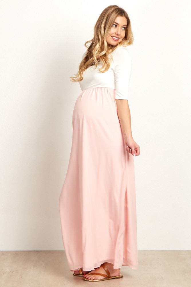 422731ee74195 Light Pink Chiffon Colorblock Maternity Maxi Dress | Maternity ...